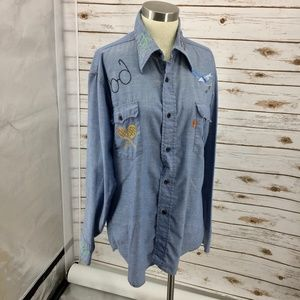 Levi's orange tab chambray shirt 70s embroidered